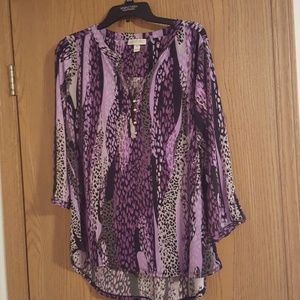 Purple..black and grey leopard print blouse